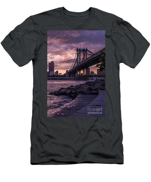 Nyc- Manhatten Bridge At Night Men's T-Shirt (Slim Fit) by Hannes Cmarits