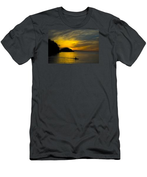 Men's T-Shirt (Slim Fit) featuring the photograph Ocean Sunset At Rosario Strait by Yulia Kazansky