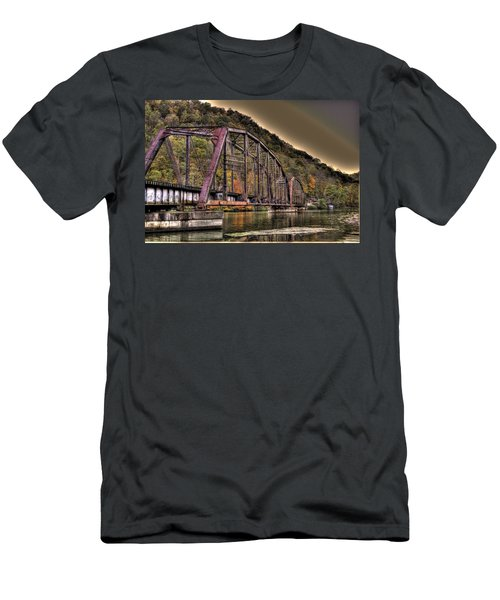 Men's T-Shirt (Slim Fit) featuring the photograph Old Bridge Over Lake by Jonny D