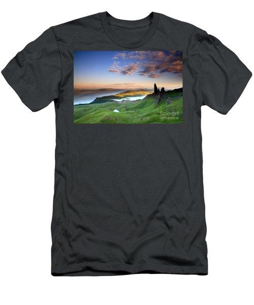 Men's T-Shirt (Slim Fit) featuring the photograph  Scotland Old Man Of Storr Isle Of Skye by Mariusz Czajkowski