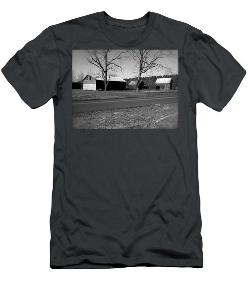 Men's T-Shirt (Slim Fit) featuring the photograph Old Red Barn In Black And White by Amazing Photographs AKA Christian Wilson