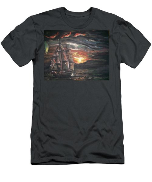Men's T-Shirt (Slim Fit) featuring the pastel Old Ship Of The Sea by Peter Suhocke