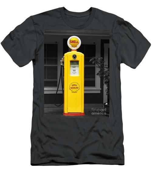 Men's T-Shirt (Slim Fit) featuring the photograph Old Time Gas Pump by David Lawson