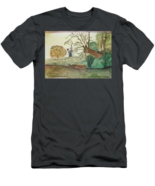 Old Willow And Boat Men's T-Shirt (Athletic Fit)