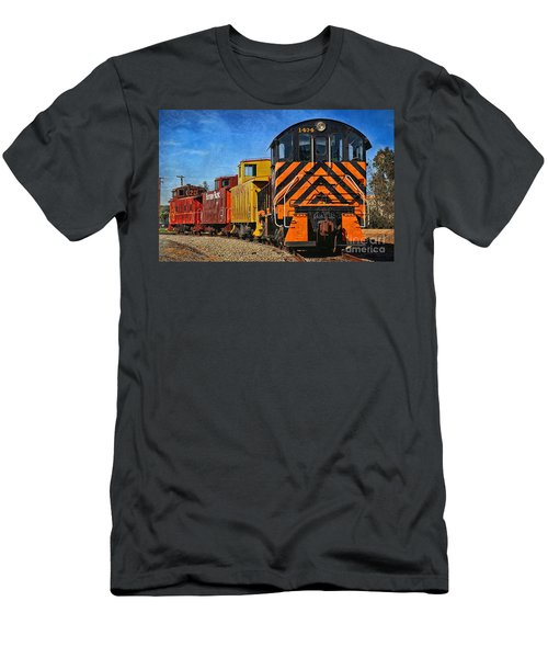 Men's T-Shirt (Slim Fit) featuring the photograph On The Tracks by Peggy Hughes