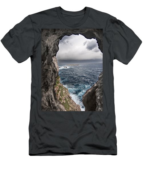 A Natural Window In Minorca North Coast Discover Us An Impressive View Of Sea And Sky - Open Window Men's T-Shirt (Slim Fit) by Pedro Cardona