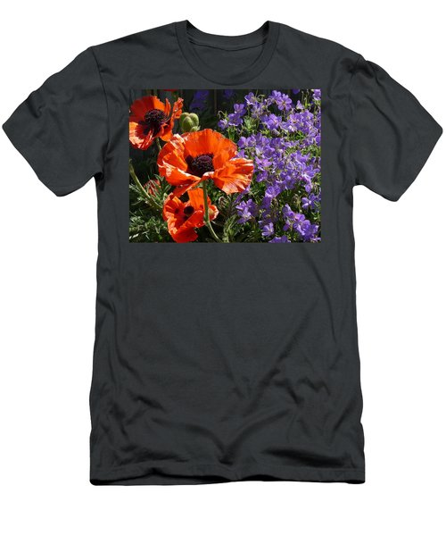 Men's T-Shirt (Slim Fit) featuring the photograph Orange Flowers by Alan Socolik