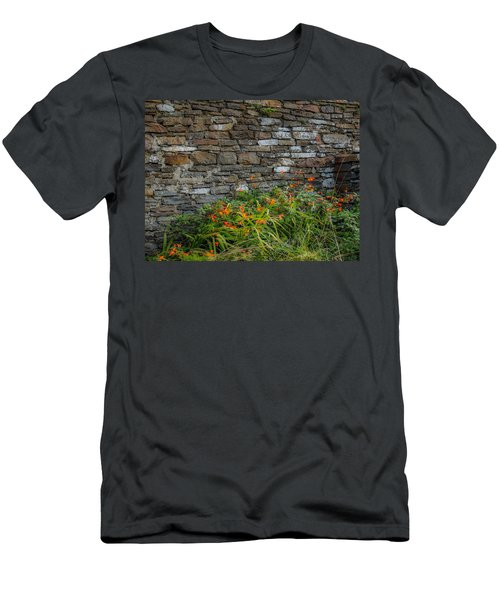 Orange Wildflowers Against Stone Wall Men's T-Shirt (Athletic Fit)