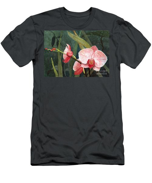 Men's T-Shirt (Slim Fit) featuring the painting Orchid Trio 2 by Barbara Jewell