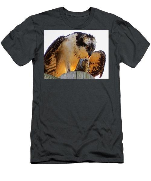 Men's T-Shirt (Slim Fit) featuring the photograph Osprey Breakfast by Dianne Cowen