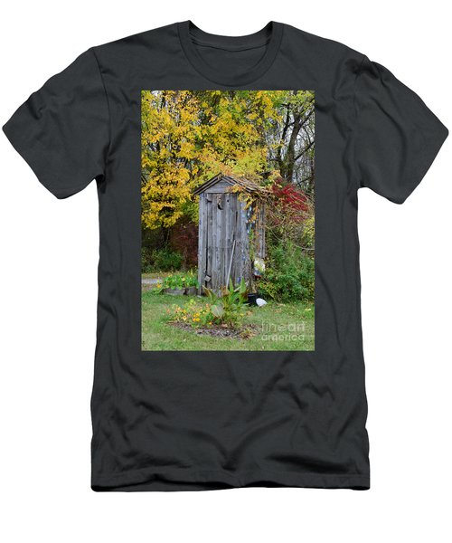 Outhouse Surrounded By Autumn Leaves Men's T-Shirt (Athletic Fit)