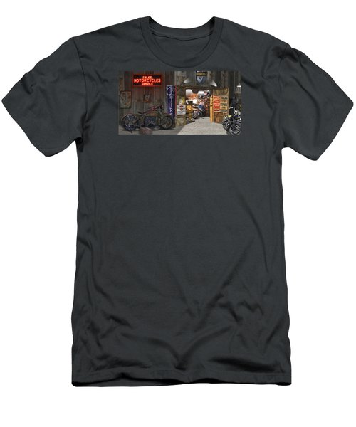 Outside The Motorcycle Shop Men's T-Shirt (Slim Fit) by Mike McGlothlen