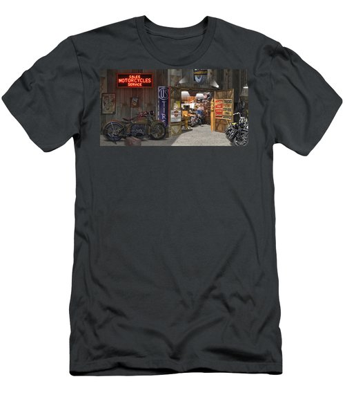Outside The Motorcycle Shop Men's T-Shirt (Athletic Fit)