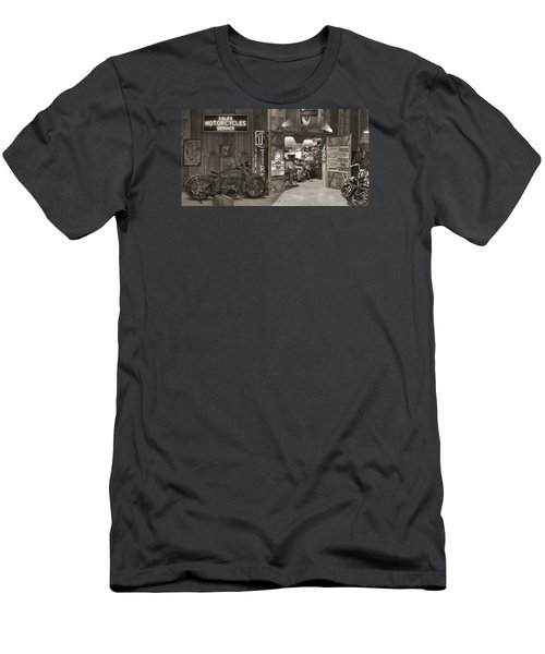 Outside The Old Motorcycle Shop - Spia Men's T-Shirt (Slim Fit) by Mike McGlothlen