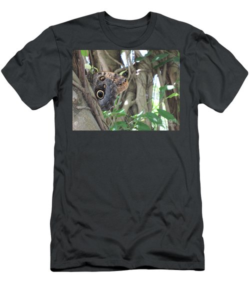 Owl Butterfly In Hiding Men's T-Shirt (Athletic Fit)