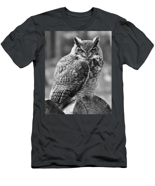 Owl In Black And White Men's T-Shirt (Athletic Fit)