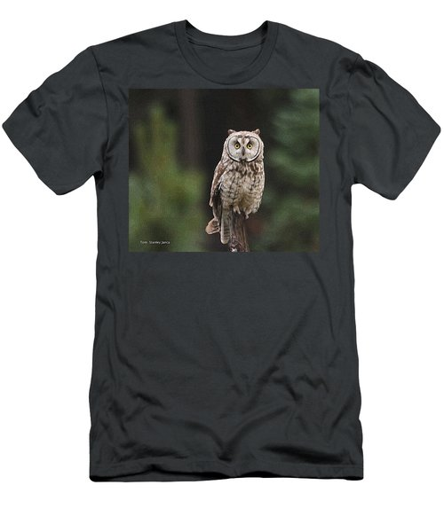 Men's T-Shirt (Slim Fit) featuring the photograph Owl In The Forest Visits by Tom Janca