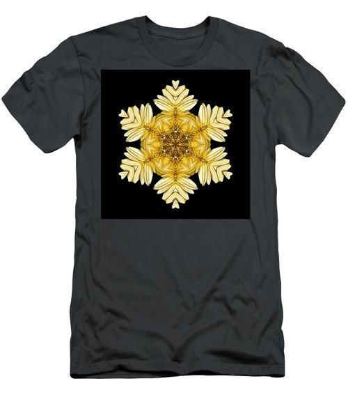 Pale Yellow Gerbera Daisy Vii Flower Mandalaflower Mandala Men's T-Shirt (Athletic Fit)