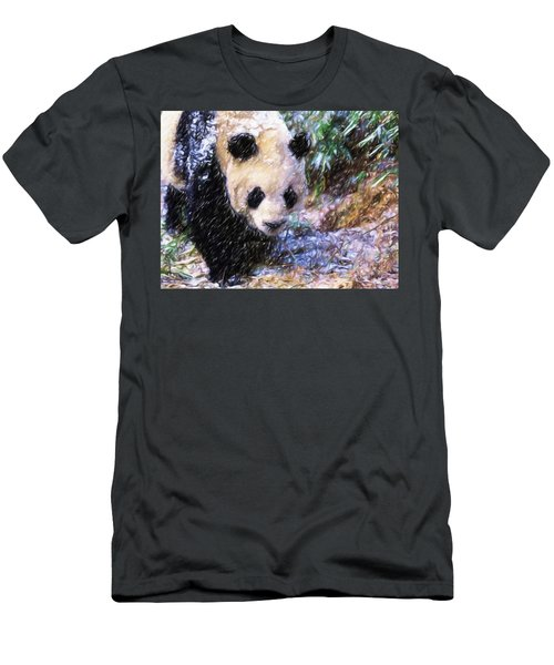 Men's T-Shirt (Slim Fit) featuring the painting Panda Bear Walking In Forest by Lanjee Chee