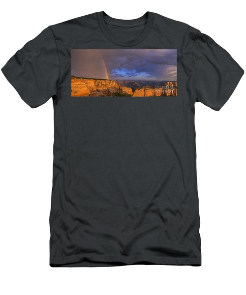Men's T-Shirt (Slim Fit) featuring the photograph Panorama Rainbow Over Cape Royal North Rim Grand Canyon National Park by Dave Welling