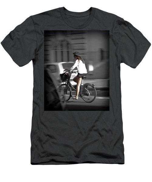Parisian Girl Cyclist Men's T-Shirt (Slim Fit) by Maj Seda