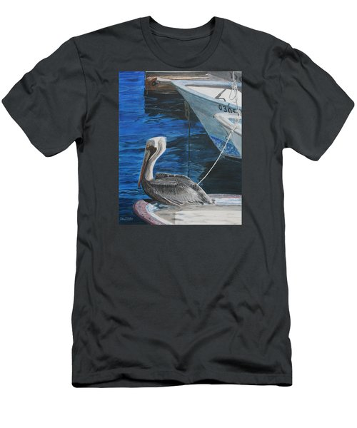 Men's T-Shirt (Slim Fit) featuring the painting Pelican On A Boat by Ian Donley