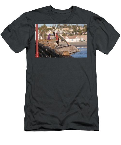 Pelican Sitting On Pier  Men's T-Shirt (Athletic Fit)