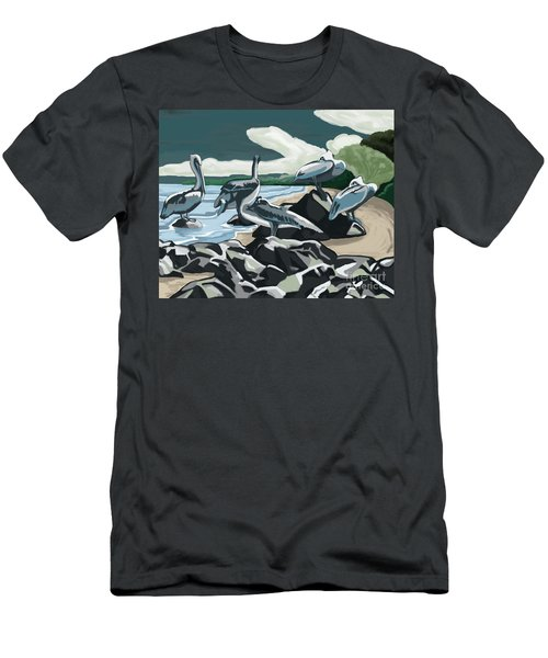 Men's T-Shirt (Slim Fit) featuring the painting Pelicans And Friends At Seashore by Tim Gilliland