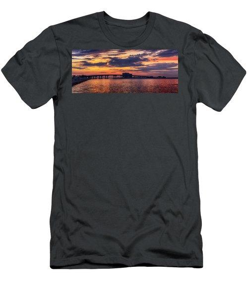 Perdido Bridge Sunrise Men's T-Shirt (Slim Fit) by Michael Thomas