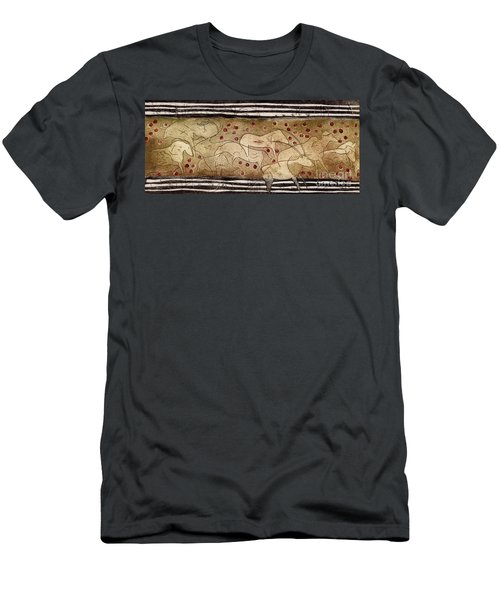 Petroglyph - Ensemble Of Red Dots And Short Strokes - Prehistoric Art - The Plains - Prarie Country Men's T-Shirt (Athletic Fit)