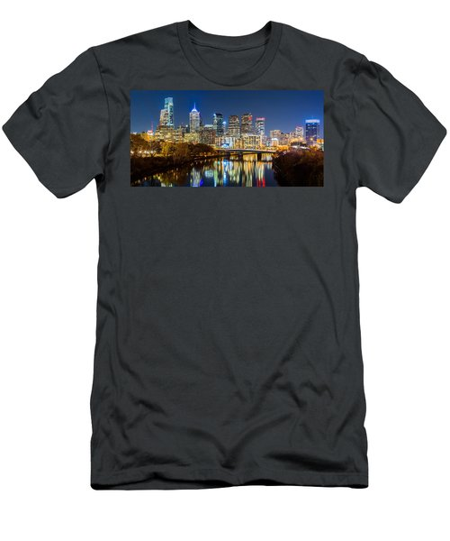 Philadelphia Cityscape Panorama By Night Men's T-Shirt (Athletic Fit)