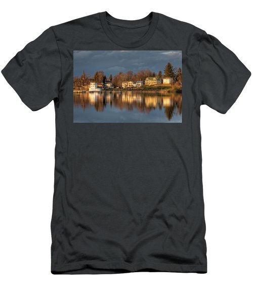 Reflection Of A Village - Phoenix Ny Men's T-Shirt (Slim Fit) by Everet Regal