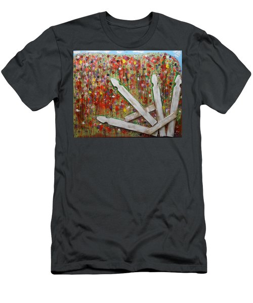 Picket Fence Flower Garden Men's T-Shirt (Athletic Fit)