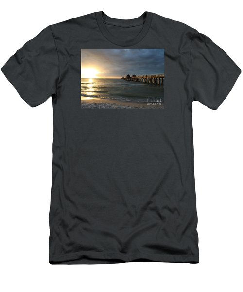 Pier Sunset Naples Men's T-Shirt (Slim Fit) by Christiane Schulze Art And Photography