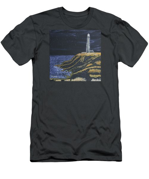 Pigeon Lighthouse Night Scumbling Complementary Colors Men's T-Shirt (Athletic Fit)