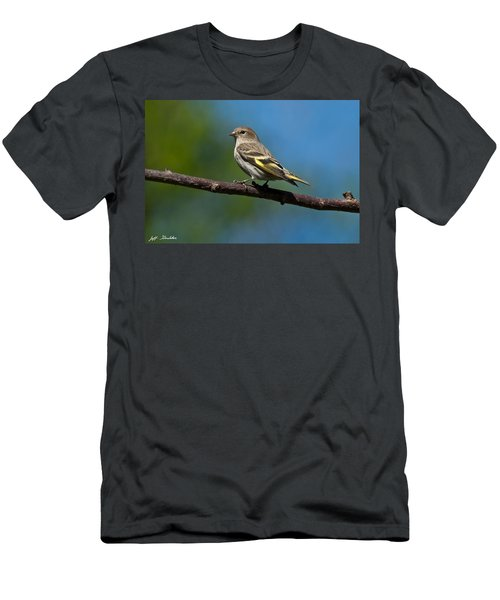 Pine Siskin Perched On A Branch Men's T-Shirt (Athletic Fit)