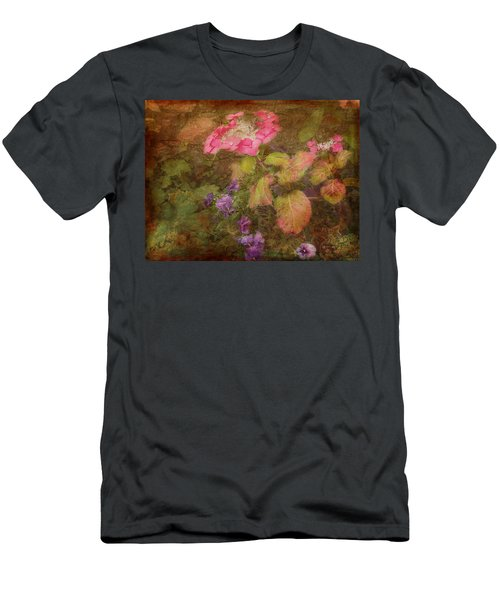 Pink Hydrangea And Purple Pansies Men's T-Shirt (Athletic Fit)