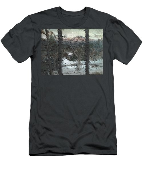 Men's T-Shirt (Slim Fit) featuring the painting Snow - Pink Mountain - Blueridge Mountains by Jan Dappen