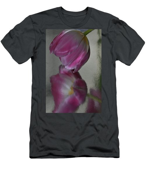 Pink Tulip Reflected In Silver Water Men's T-Shirt (Athletic Fit)