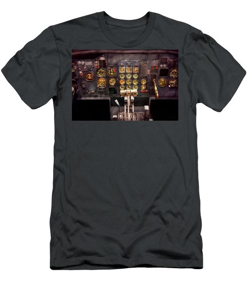 Plane - Cockpit - Boeing 727 - The Controls Are Set Men's T-Shirt (Slim Fit) by Mike Savad