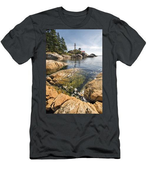 Men's T-Shirt (Slim Fit) featuring the photograph Point Atkinson Lighthouse In Vancouver Bc Vertical by JPLDesigns