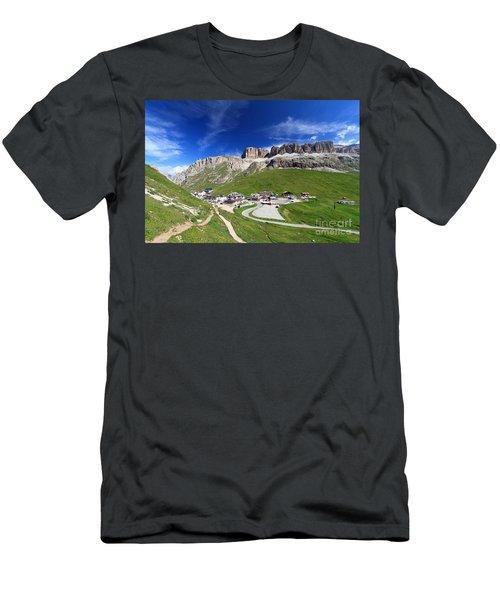 Pordoi Pass And Mountain Men's T-Shirt (Athletic Fit)