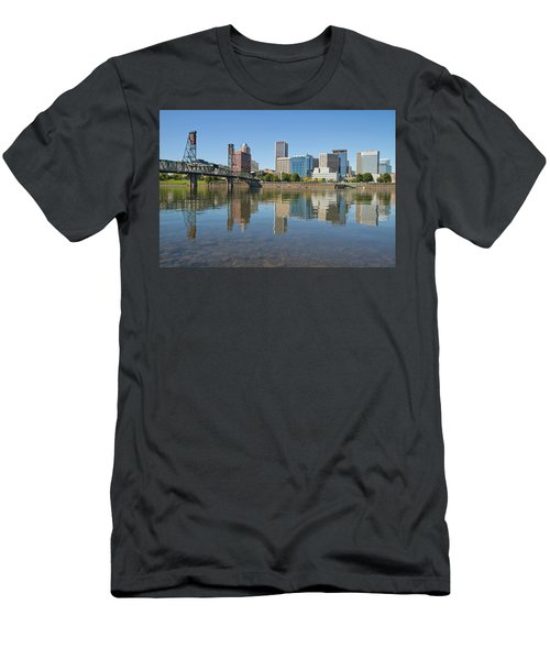 Men's T-Shirt (Slim Fit) featuring the photograph Portland Downtown Skyline And Hawthorne Bridge by JPLDesigns