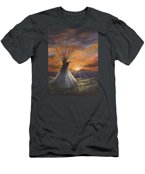 Men's T-Shirt (Slim Fit) featuring the painting Prairie Sunset by Kim Lockman