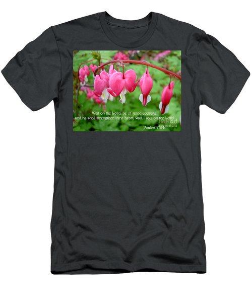 Psalms 27 14 Bleeding Hearts Men's T-Shirt (Athletic Fit)