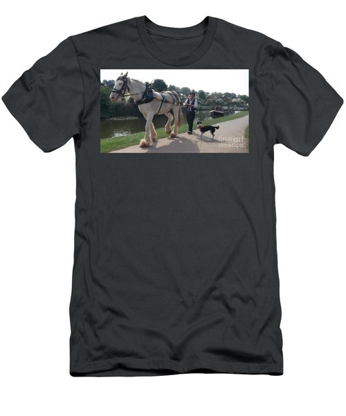 Pulling The Barge Men's T-Shirt (Slim Fit) by John Williams