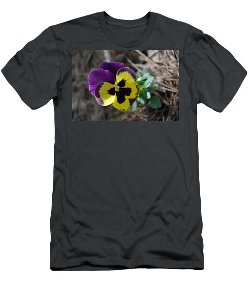 Men's T-Shirt (Slim Fit) featuring the photograph Purple And Yellow Pansy by Tara Potts