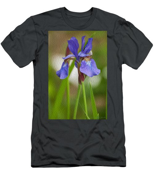 Purple Bearded Iris Oil Men's T-Shirt (Athletic Fit)