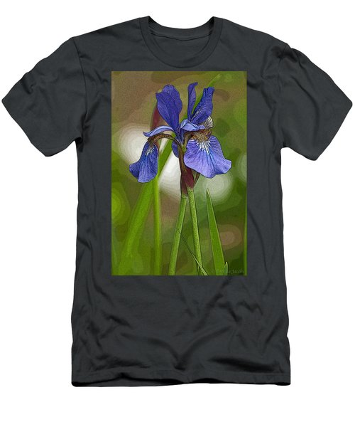 Purple Bearded Iris Watercolor With Pen Men's T-Shirt (Athletic Fit)