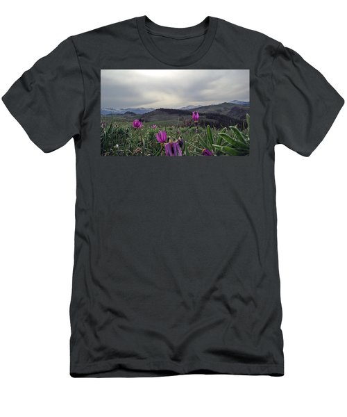 Men's T-Shirt (Slim Fit) featuring the digital art Purple Spring In The Big Horns by Cathy Anderson